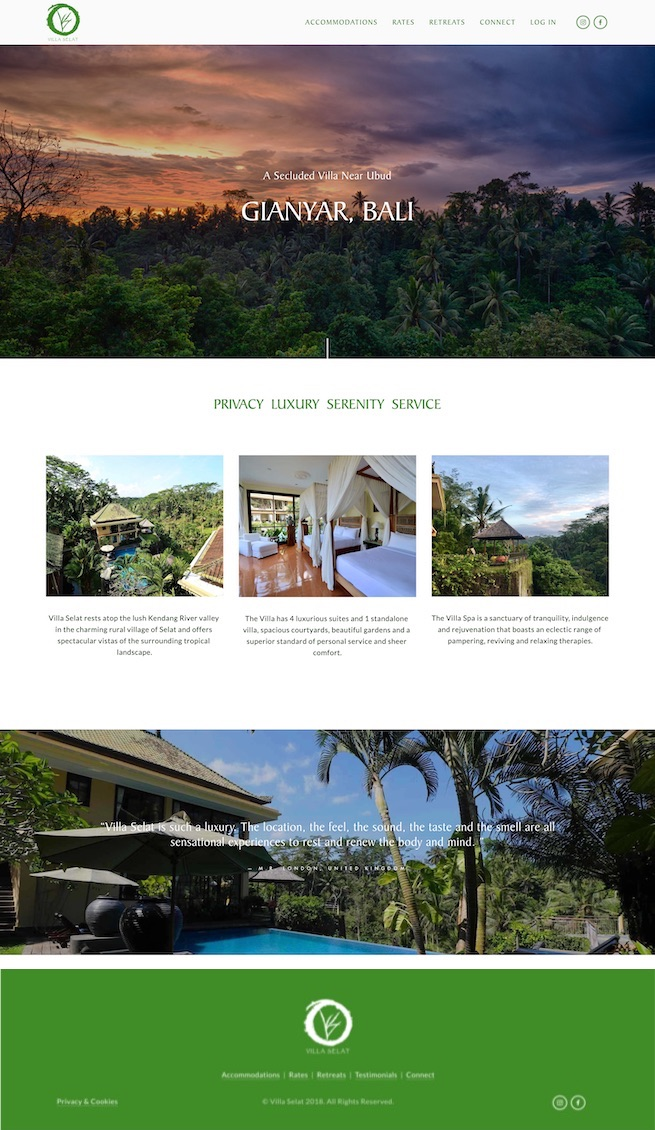 Bali RetreatWebsite Design - Location: Bali, IndonesiaWebsite design for a luxury villa in Bali, Indonesia. This responsive site features multiple portfolios, rates page and a user-login section.tags: bali website design, bali web design, responsive website design, island marketing, luxury web design company, ssl certificate, squarespace web design, squarespace authorized training company
