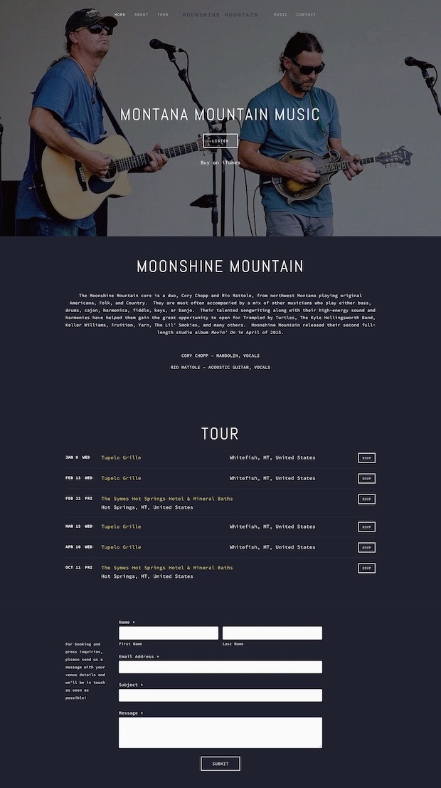 BandWebsite Design - Location: Flathead Valley, MontanaWebsite design project for an Americana band based out of Northwest Montana. This responsive site features a Bandsintown tour integration, album integration and a band inquiry formtags: minimal website design, modern website design, music web designers, band website design, northwest montana website design