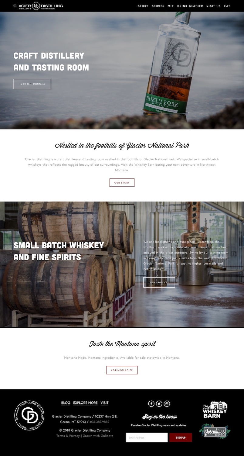 Craft DistilleryWebsite Design - Location: Coram, MontanaWebsite design built for a craft distillery outside of Glacier National Park. This responsive site includes a custom spirit finder map, cocktail recipe directory, Mailchimp integration and blog.tags: distillery website design, glacier national park website design, responsive website design, spirits web design, flathead valley web design, squarespace expert, squarespace authorized trainer