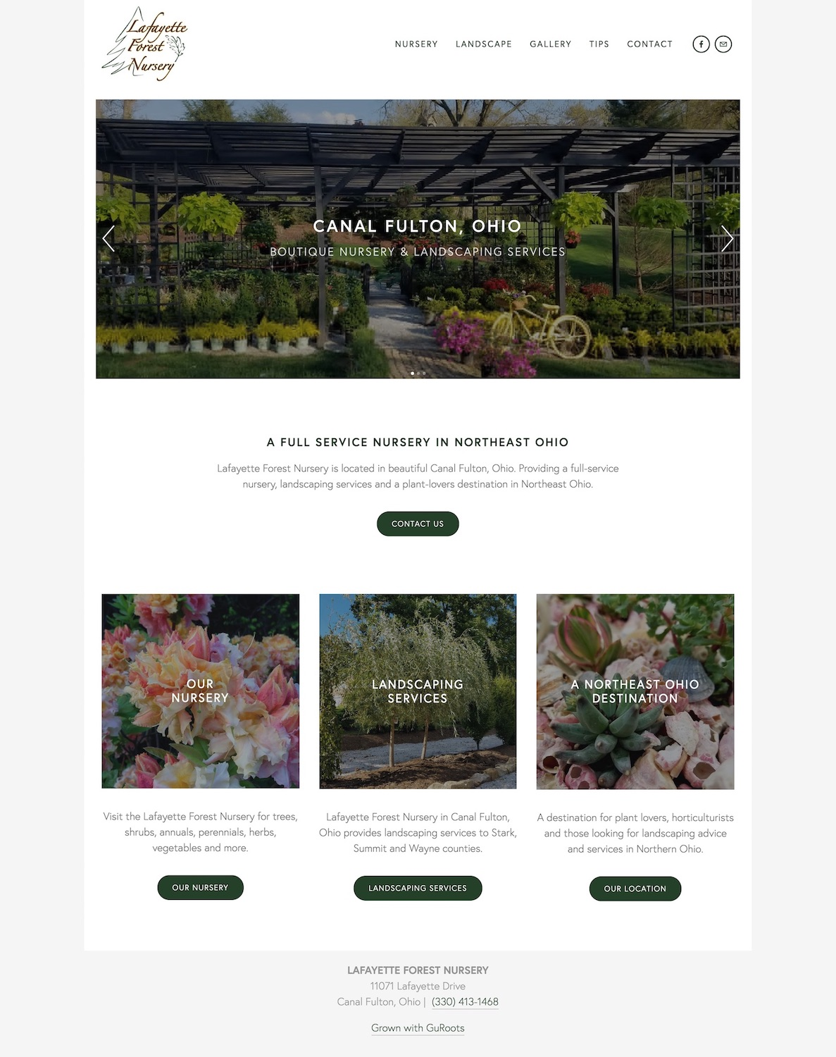 Boutique Nursery Website Design - Location: Canal Fulton, OhioWebsite design built for a boutique nursery and landscape company in Canal Fulton, Ohio. Showcasing a nursery gallery, services and growing tips, this website is built for user-friendliness with a clean and minimal approach.tags: ohio website design, nursery website design, canal fulton website design, northeast ohio website design, cleveland website design