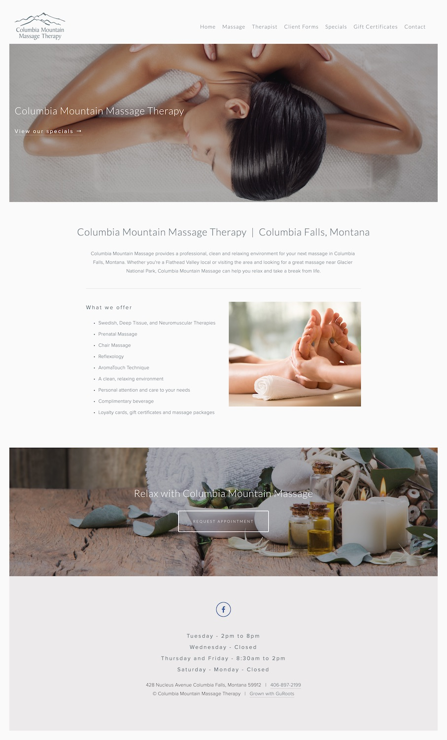 Massage TherapistWebsite Design - Location: Columbia Falls, MontanaWebsite design for a Massage Therapist in Columbia Falls, Montana. This mobile-friendly site showcases massage services, a Square gift card store, updated specials and a contact form.tags: massage website design, columbia falls web design, responsive website design, flathead valley marketing, minimal web design, local seo, squarespace web design, squarespace authorized training company