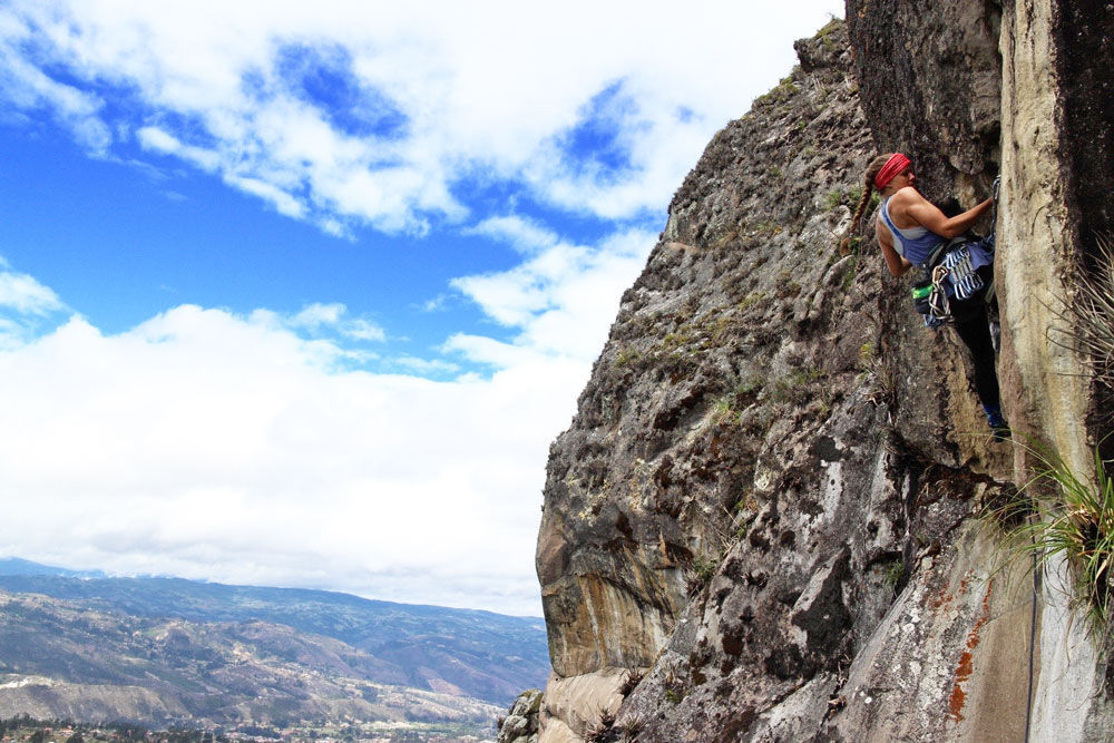 The author climbing in Cojitambo, Ecuador, one of the first established crags in the country. Photo by Steven Lung and Mateo Oleas.