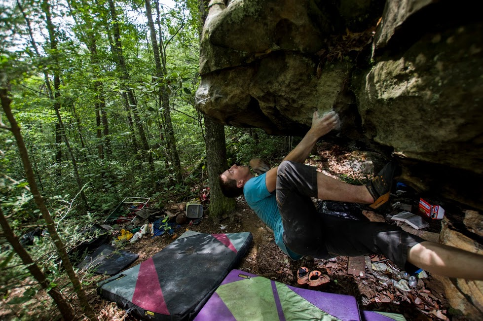 Mark Siegrist eyeing the next moves on  OG Trash . Photo by Micah Gentry.