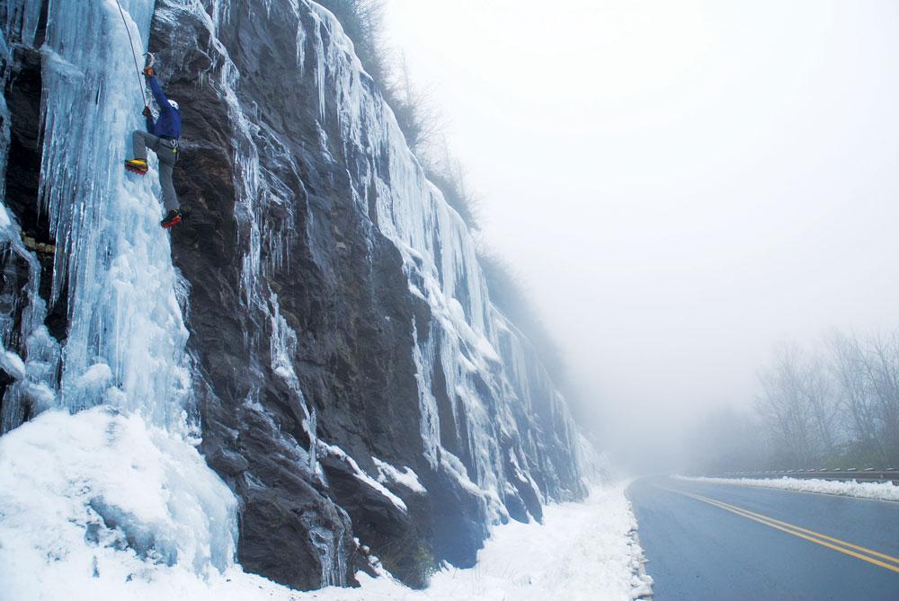 Ice climbing at Roadside 215. All photos courtesy of Mike Reardon.
