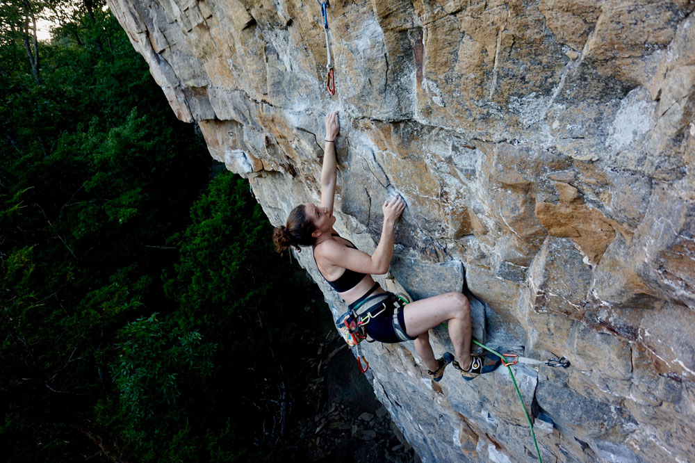 The author climbing  Flash Fried  at Denny Cove's Buffet Wall. Photo by Sarah Anne Perry.
