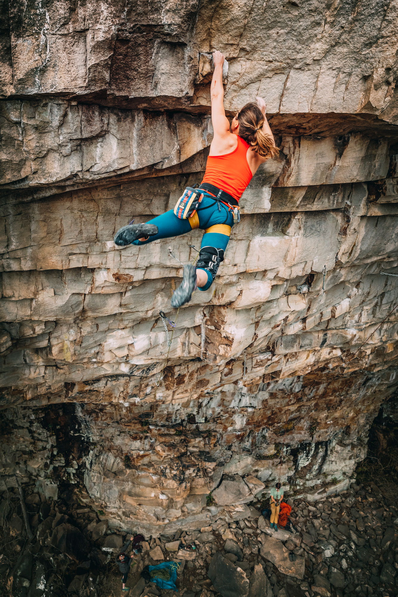 Laurel Graefe sticking the big move on  Rockstar  (5.13b) at Shaman Cave. Photo courtesy of  Nathalie DuPre .