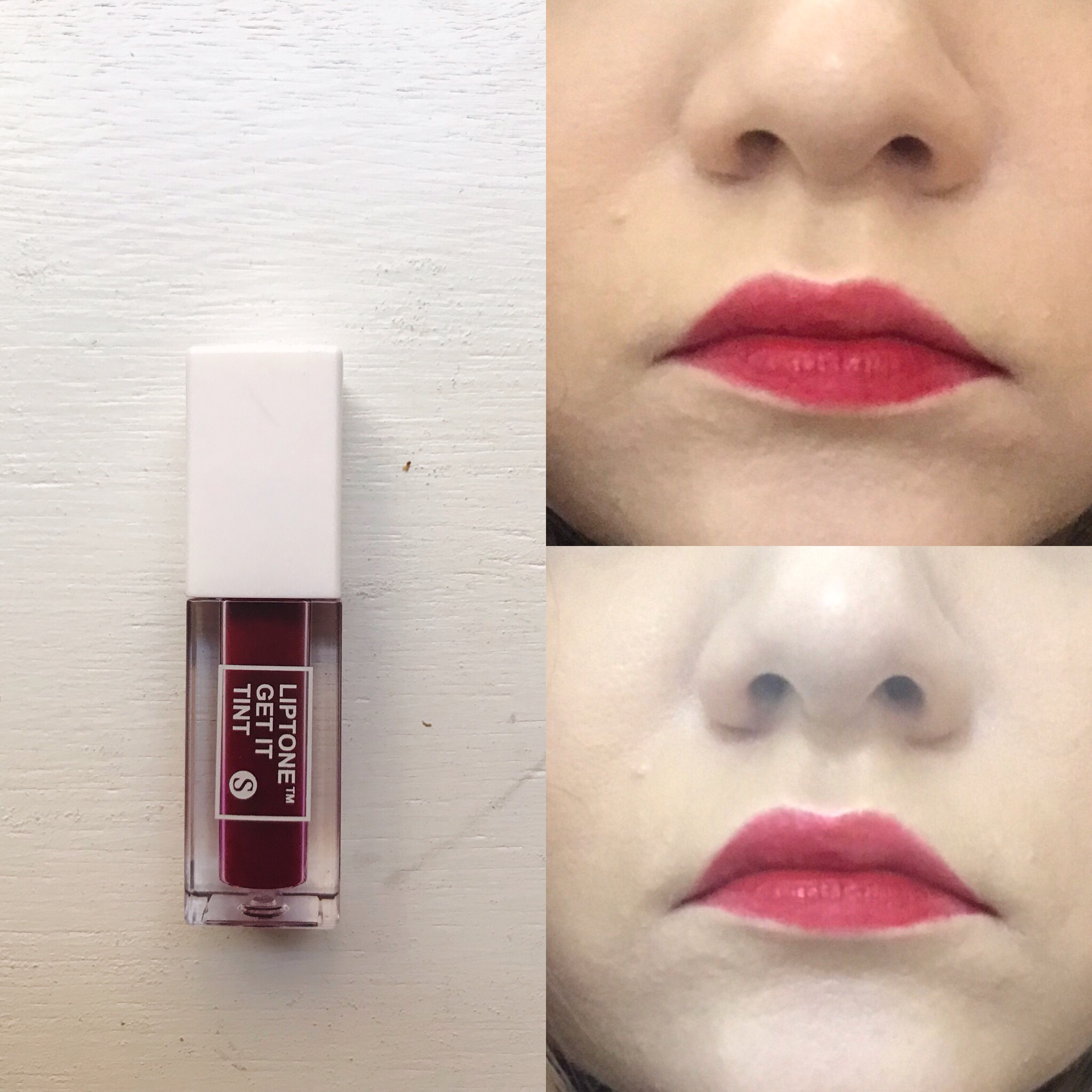 Right top corner: when first applied; right lower corner: the color throughout the day