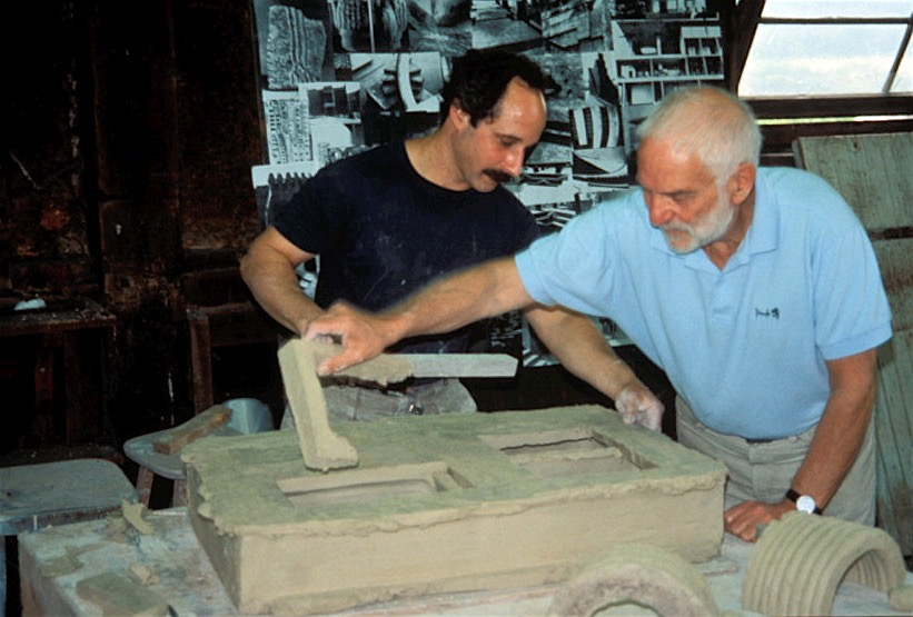 Paul Chaleff and Anthony Caro working in Chaleff studio 1996.jpg