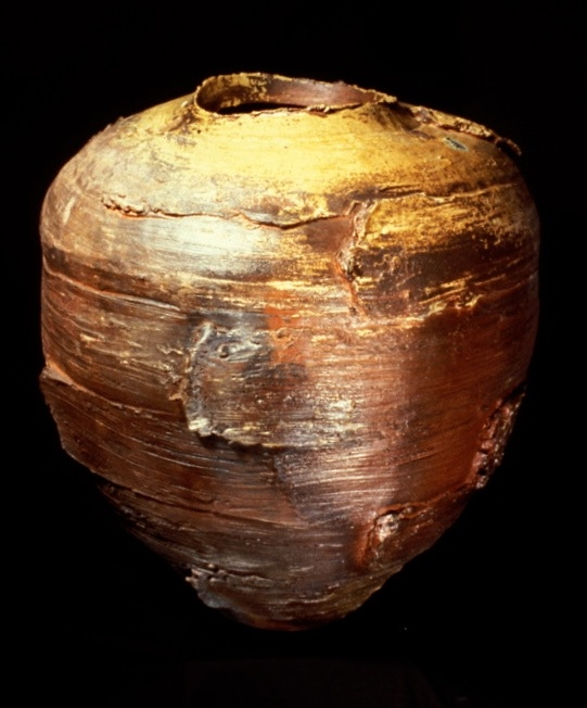 large wood-fired jar with added clay - los angeles contemporary museum of art