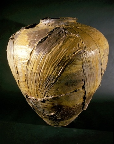 large wood-fired jar form with strokes