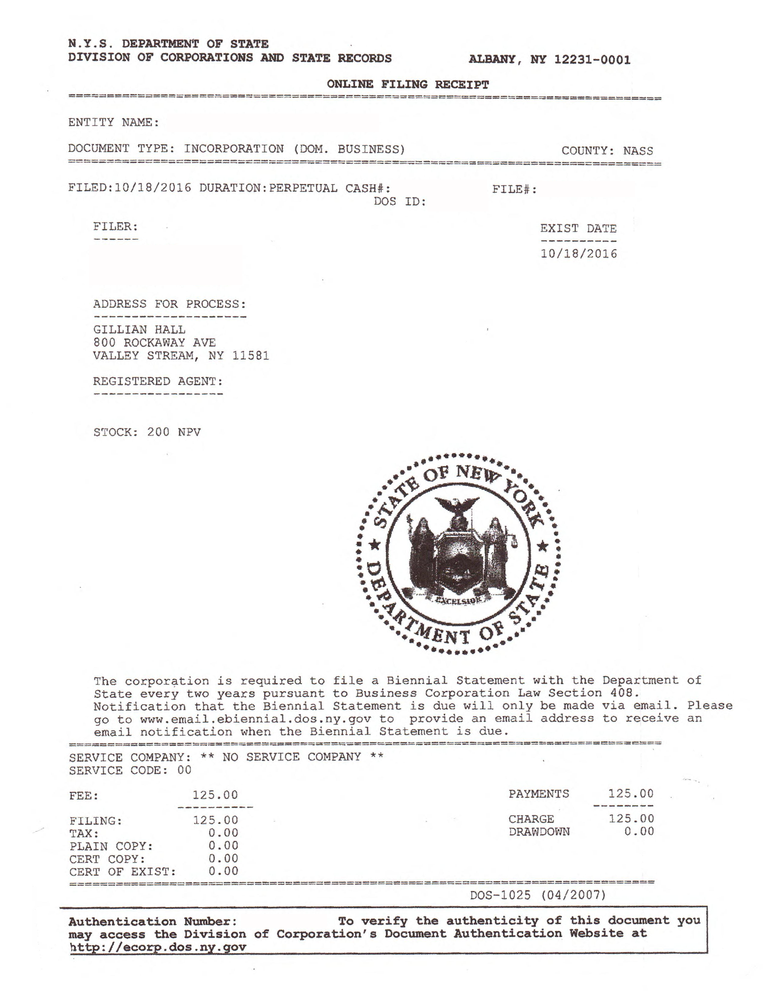 The company name listed on this  NYS filing receipt  must match the name we are registering with the DOT.