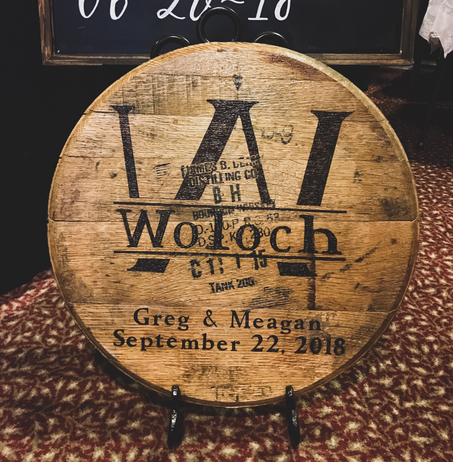 Custom Barrel Head - This barrel head includes a wood burned custom established date, last name, last name initial, and both of the names. If you wish for a different design feel free to contact me!Locals in Louisville, KY : Use coupon code LOCAL502 to get a reduced price. This is only if you can meet me to pick up your order. This will take off the shipping.