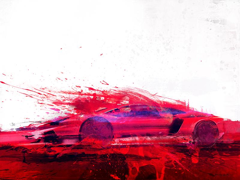 Bloody Lambo: 2015 Lamborghini Aventador (30 x 40)