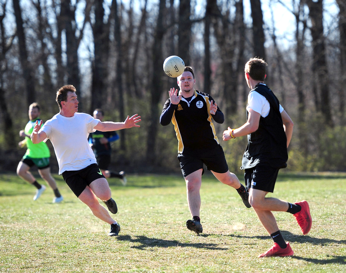 David Skinner (left) putting up some stellar defense during our first match of the spring, March 18