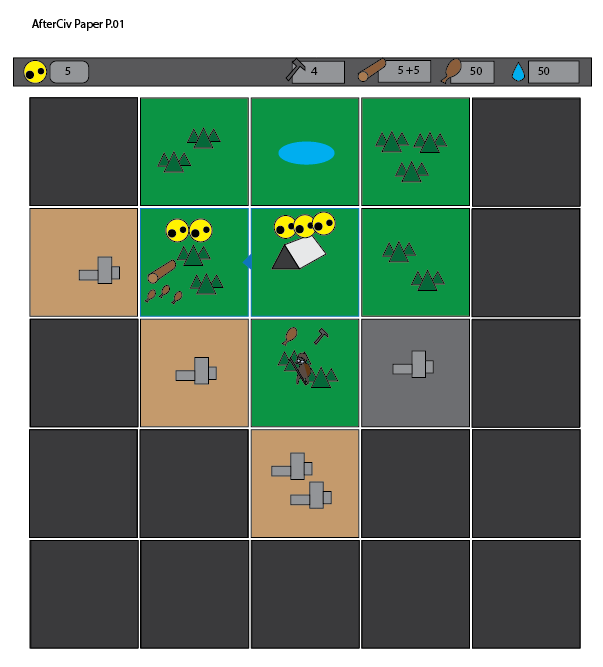 This basic mock-up begun with empty tiles and organically added new elements as new rules were created to accomodidate the needs to find a game loop.