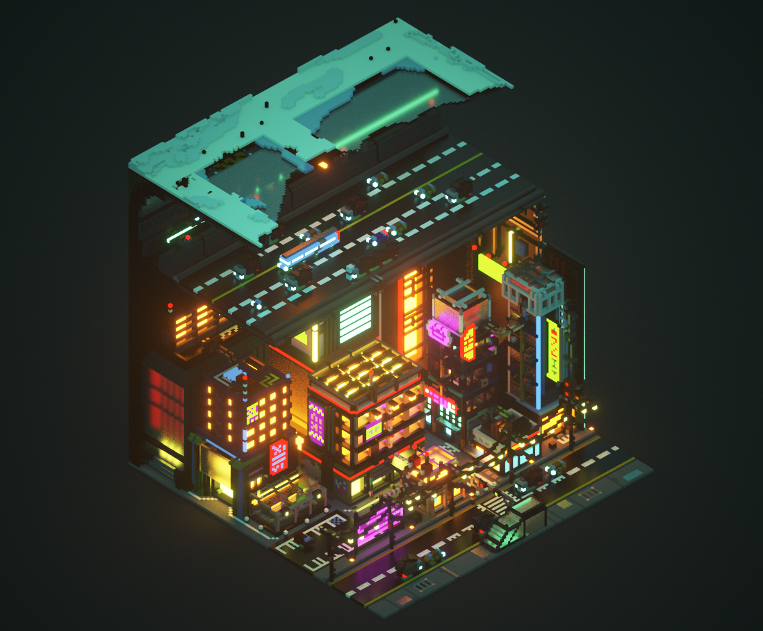 The Megacity scene was developed in a day, after I had done some really basic pieces whilst learning how to use MagicaVoxel for the first time. It's complex, but only visually, as the processes behind it are quite simple to recreate or produce.