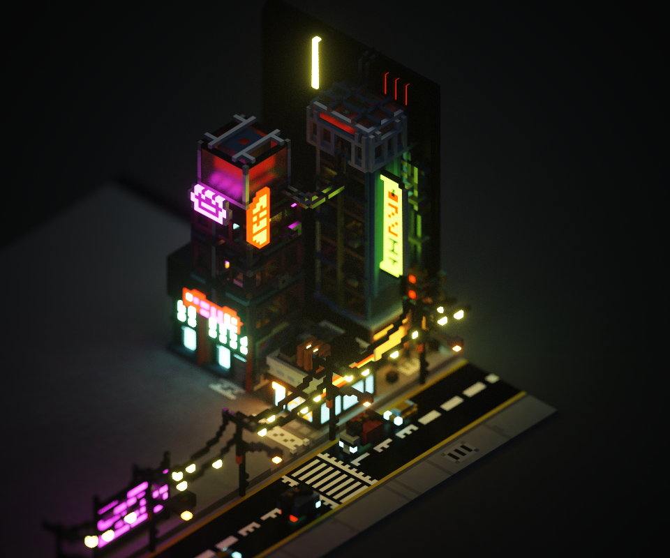 It's important to recognize that the main attraction of the MagicaVoxel pipeline is the ability for complex scenes to take on a life is miniatures - the use of Depth of Field/Lens Tilt effects help establish a composition, and the software package has this in-built.