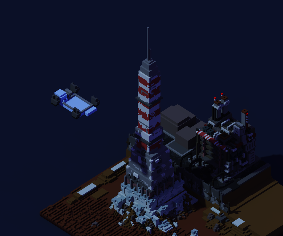 I started working on the lighthouse, working from the base to the top. Keeping with our references, I identified some key components that needed to be replicated with this concept that make it immediately recognizable.