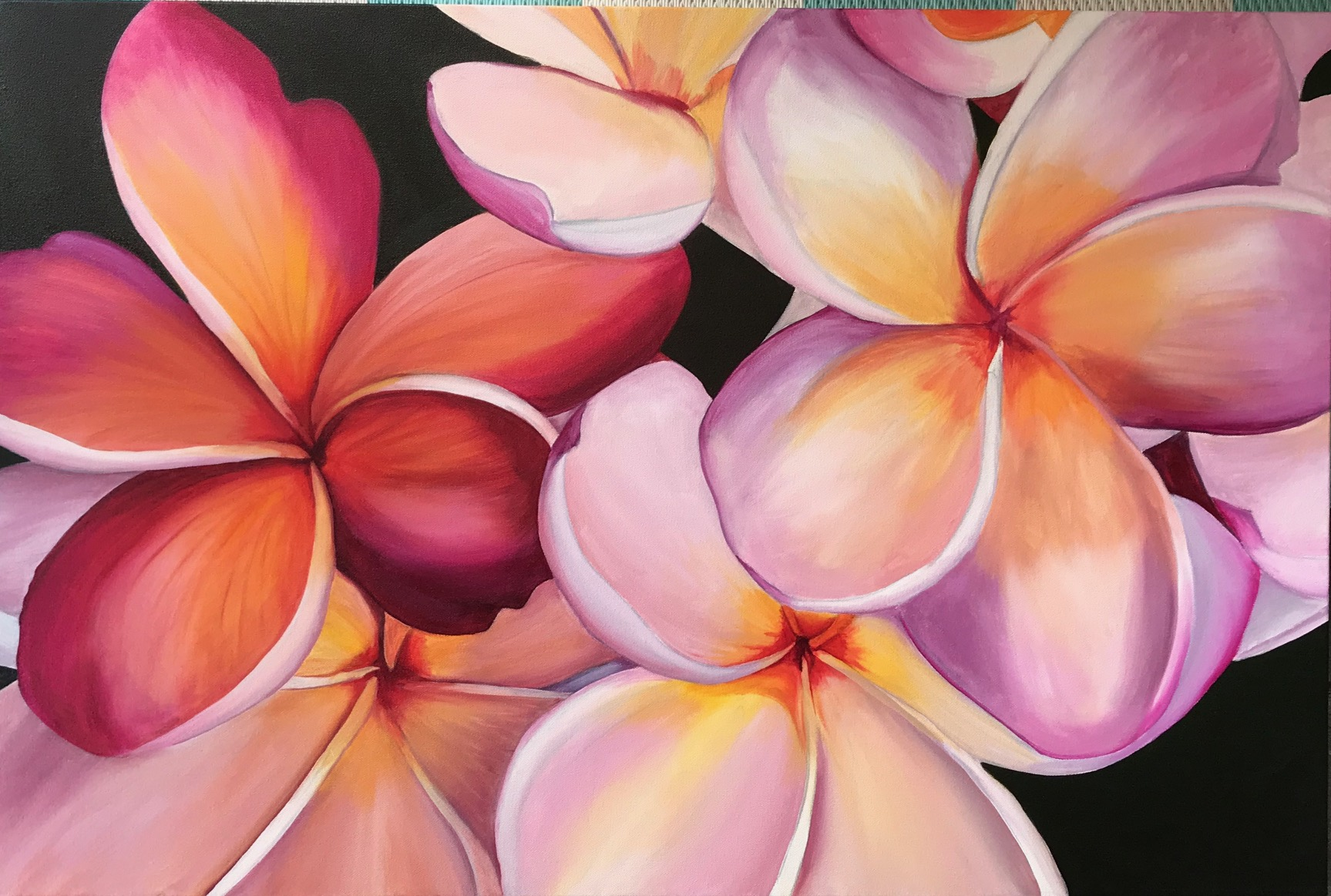 Tropical Blush 91cm (W) x 61cm (H) $700  Professional quality acrylic paint 100% cotton canvas. Varnished, sides painted, ready to hang, unframed. Commissions welcome.