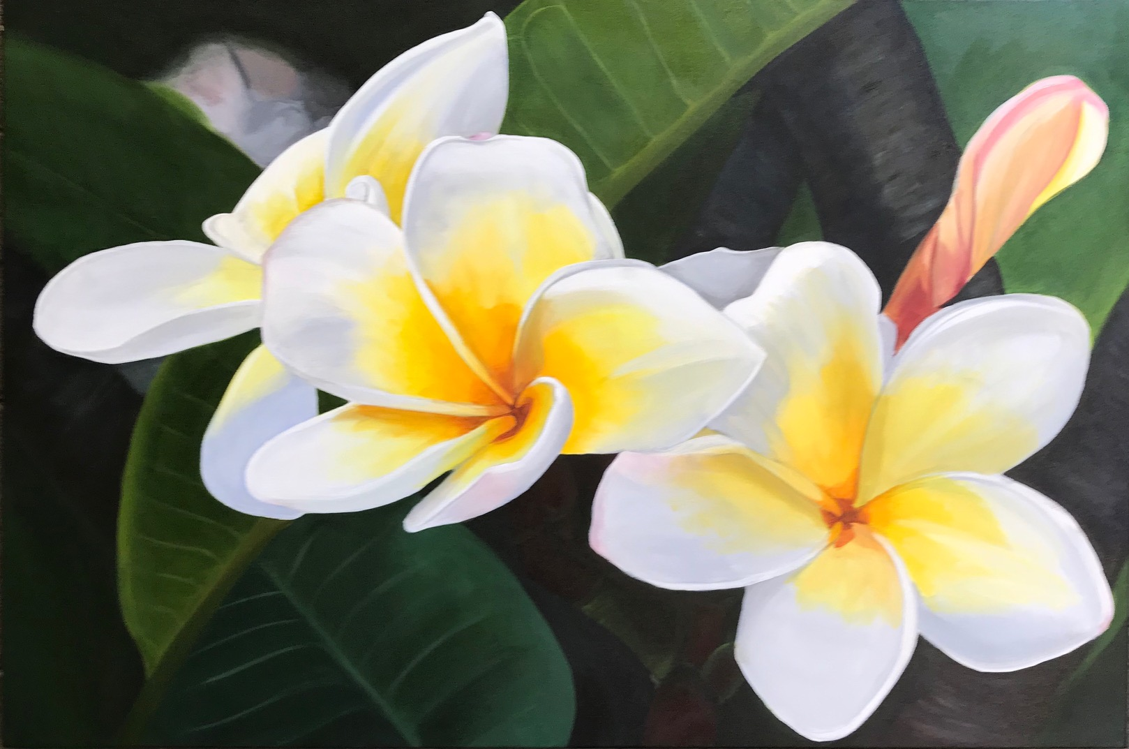 "Scent of Summer 91cm (W) x 61cm (H) $700  ""Seek to be whole, not perfect"" ~ Oprah Winfrey  Frangipanis always make me feel like I'm on holiday. They bring back fond memories of soaking up the sun with my toes squeaking on the sand of a tropical paradise."