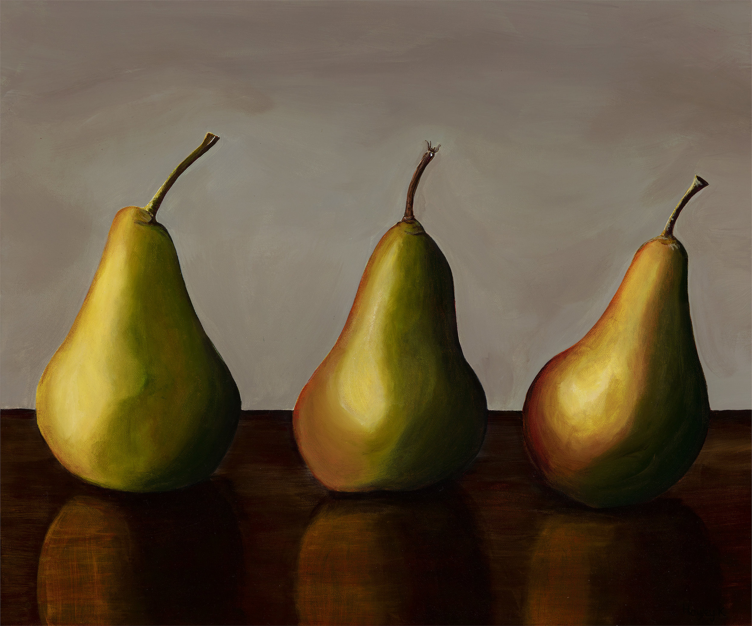 More than a pear 61cm (W) x 50.8cm (H) $500  I took a series of reference photos for a commission work in 2018. I loved how the light danced off the pears so much, I decided to do a series of paintings from than one perfect moment captured in time.