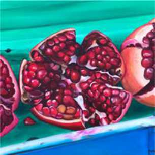 """Scarlett Jewels 61cm (W) x 61cm (H) $450  This image reminds of our Thailand holiday. We were walking along Bangla Road in Patong.  There were scores of people all enjoying the tropical heat and local sites. We can across this vibrant vendor with rows of gorgeous jewel-like pomegranates almost the size of my little girls head, bursting with tasty little pockets of flavour.  """"Pomegranates are like little explosions of awesome in your mouth"""" ~ Tahereh Mafi"""