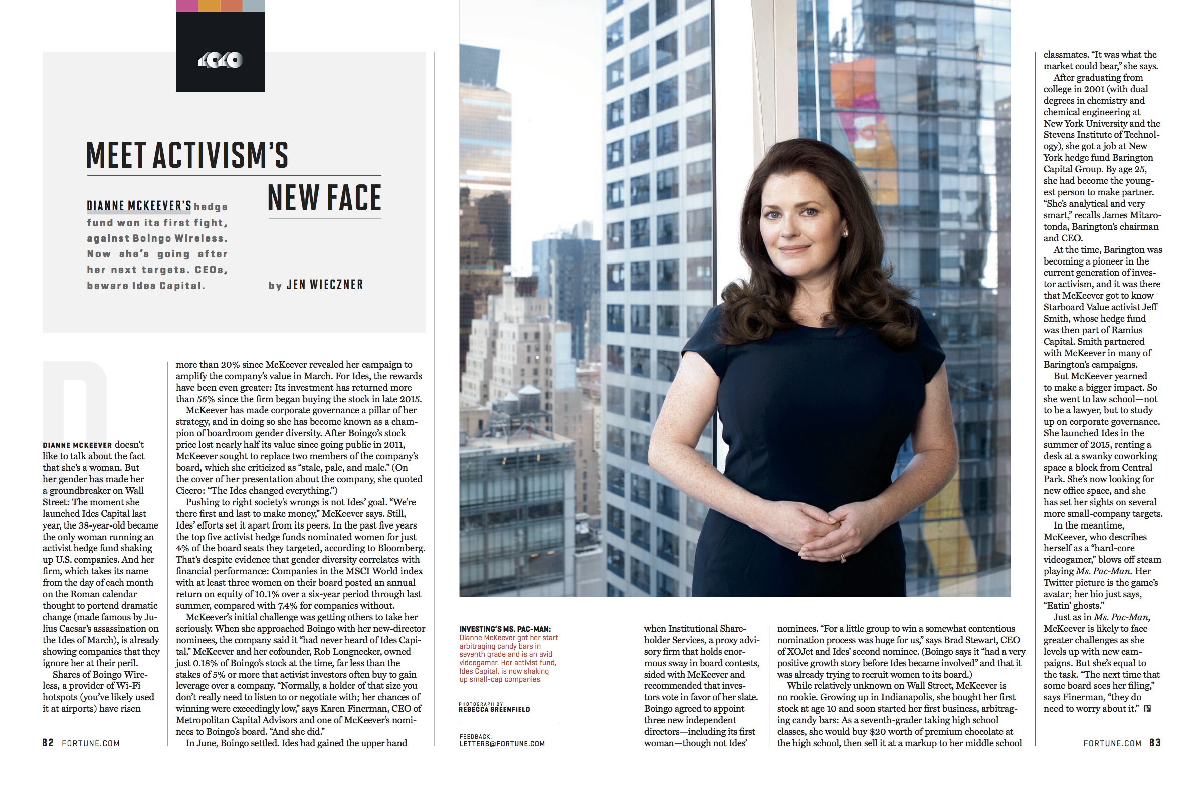 """""""Meet the Only Female Activist Hedge Fund Manager Shaking Up U.S. Companies,"""" Fortune, September 2016"""