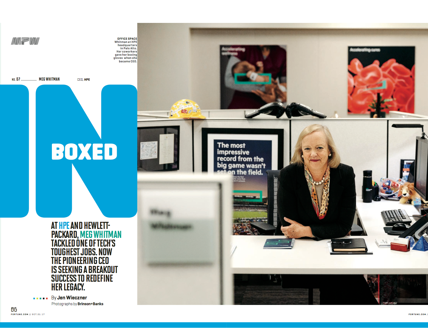 """""""Boxed In"""" Meg Whitman profile, Fortune, October 2017"""