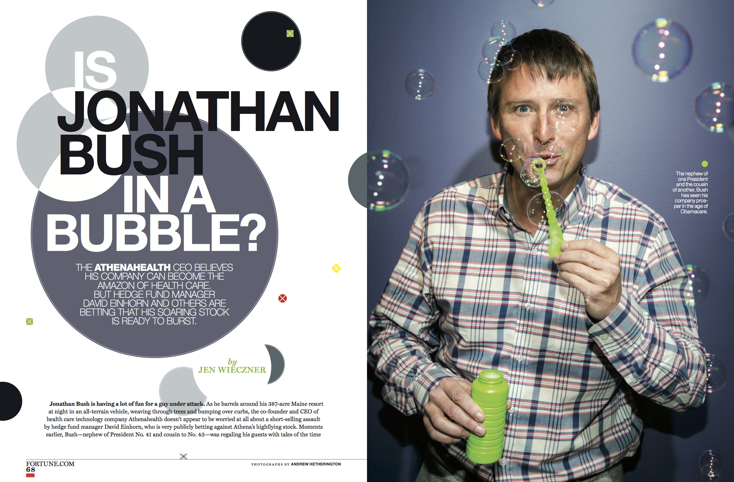 """""""Is Athenahealth CEO Jonathan Bush in a Bubble?"""" Fortune, December 2014"""