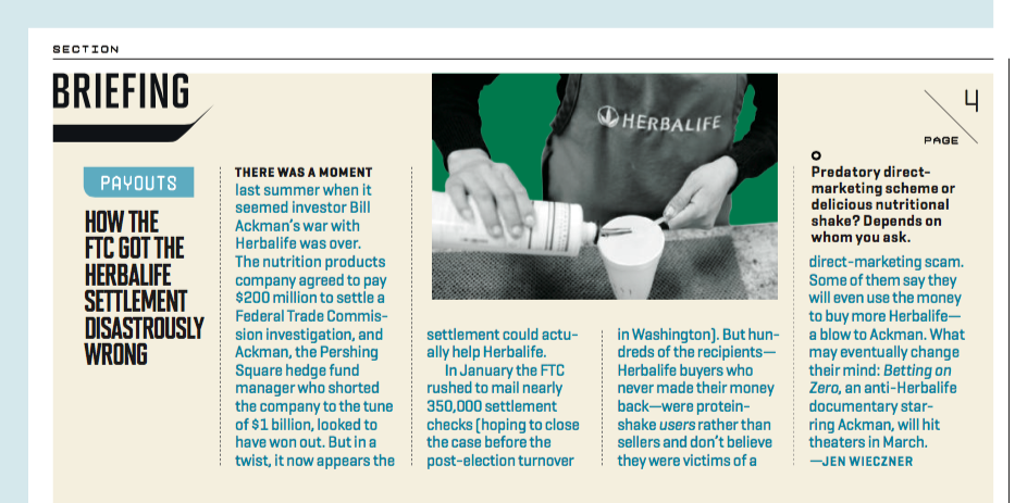"""""""Herbalife Paid a $200 Million Fine. Then the FTC Screwed It Up,"""" Fortune, February 2017"""