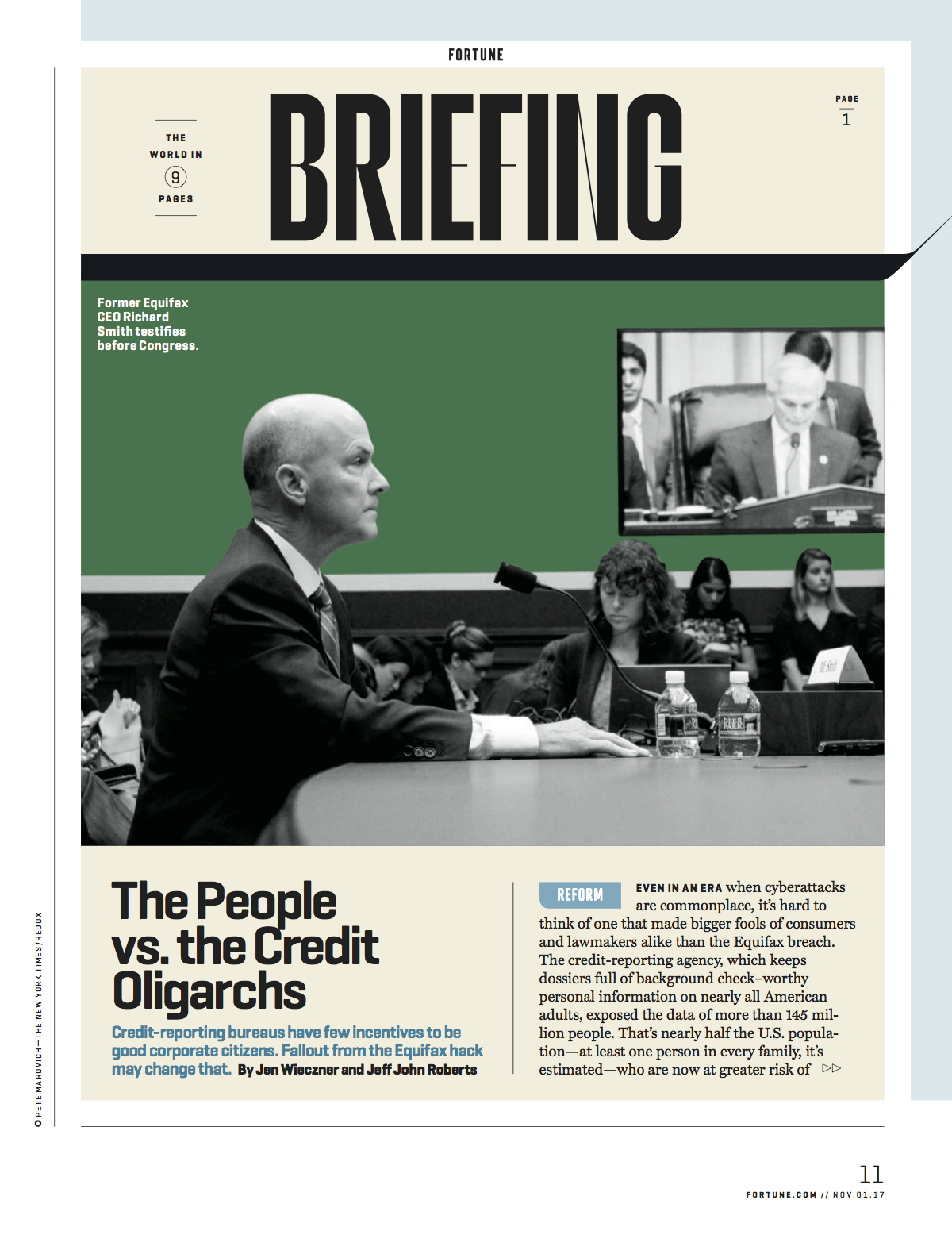 """""""The Equifax Breach Could End the Credit Industry As We Know It,"""" Fortune,October 2017"""
