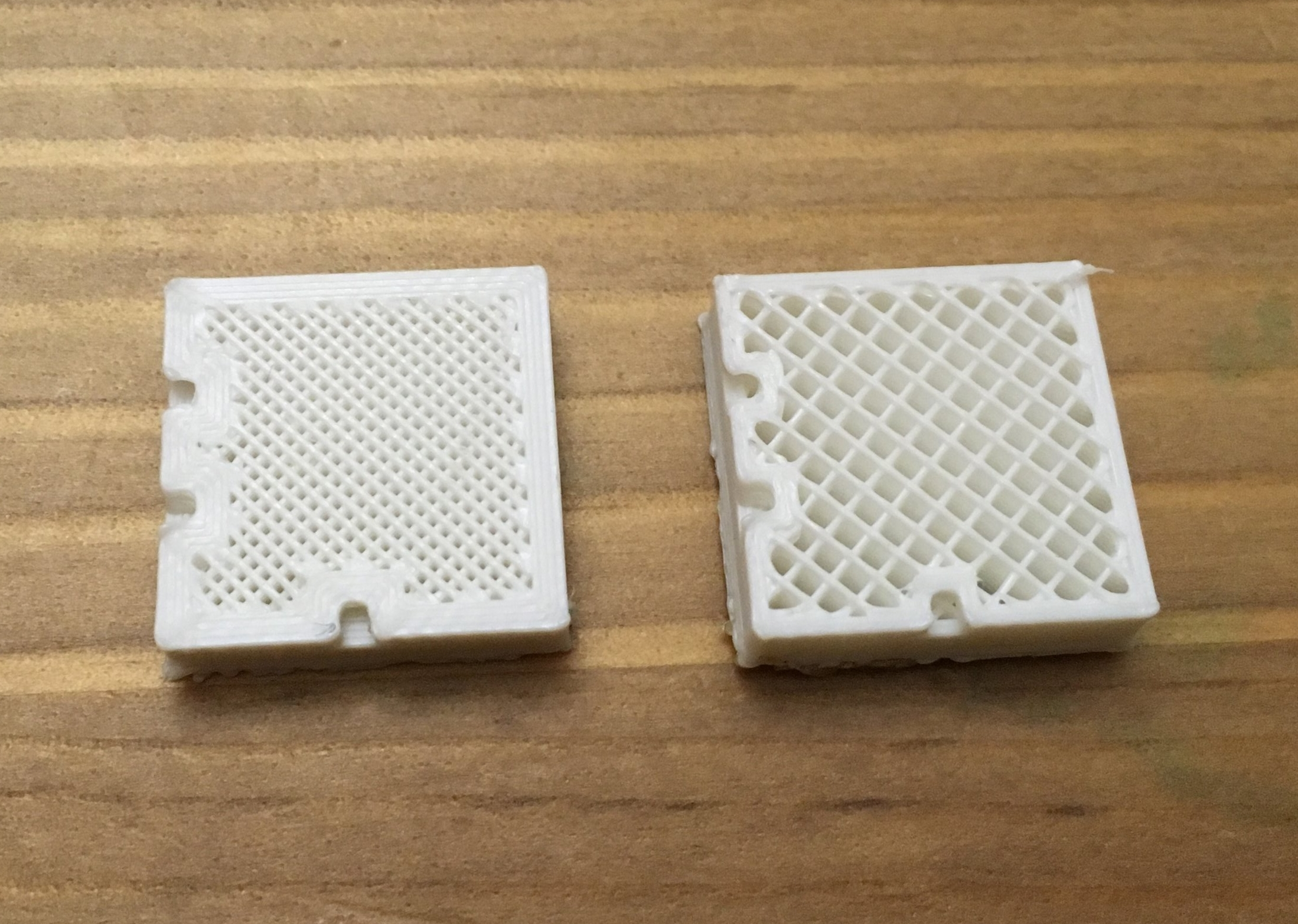 Print Settings Also Impact Part Strength. - The sample on the left (4 outer shells and 50% infill) is much stronger than the sample on the right (2 shells and 25% infill), regardless of material selection.