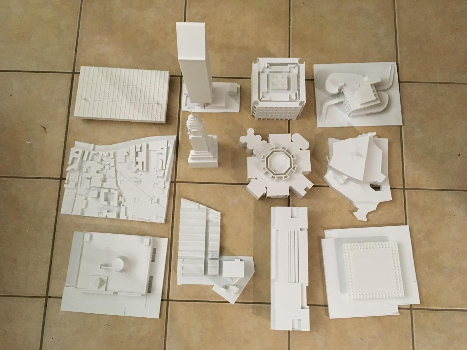 "Set of 12 Model Buildings - 12"", PLA, 200 micron"