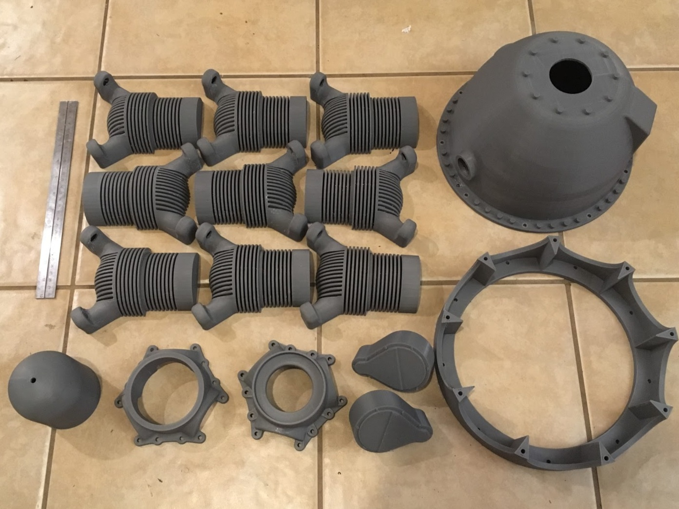 COmponents for Full-Size Replica of WW2 Prop Plane Engine - ABS, 100 micron