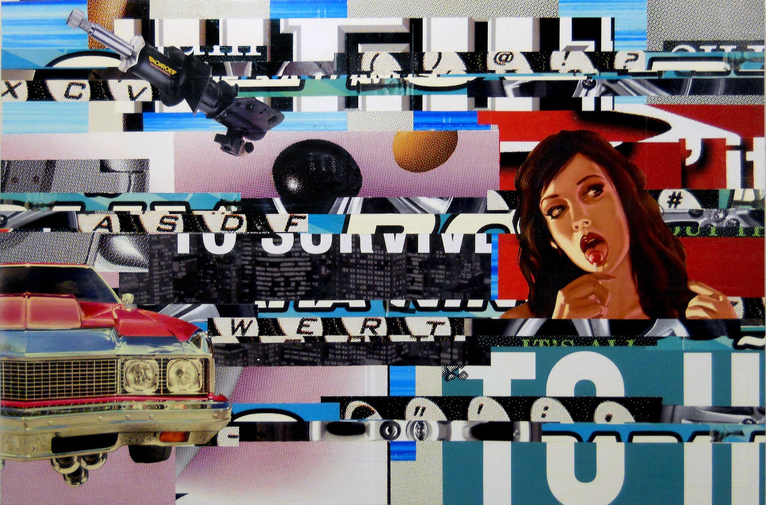 Sensatrac, 2014, 48h x 72w, Billboard paper on wood panel