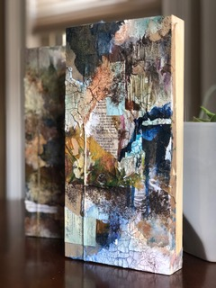 "Washed Away.  12"" x 6"" mixed media on wood panel."