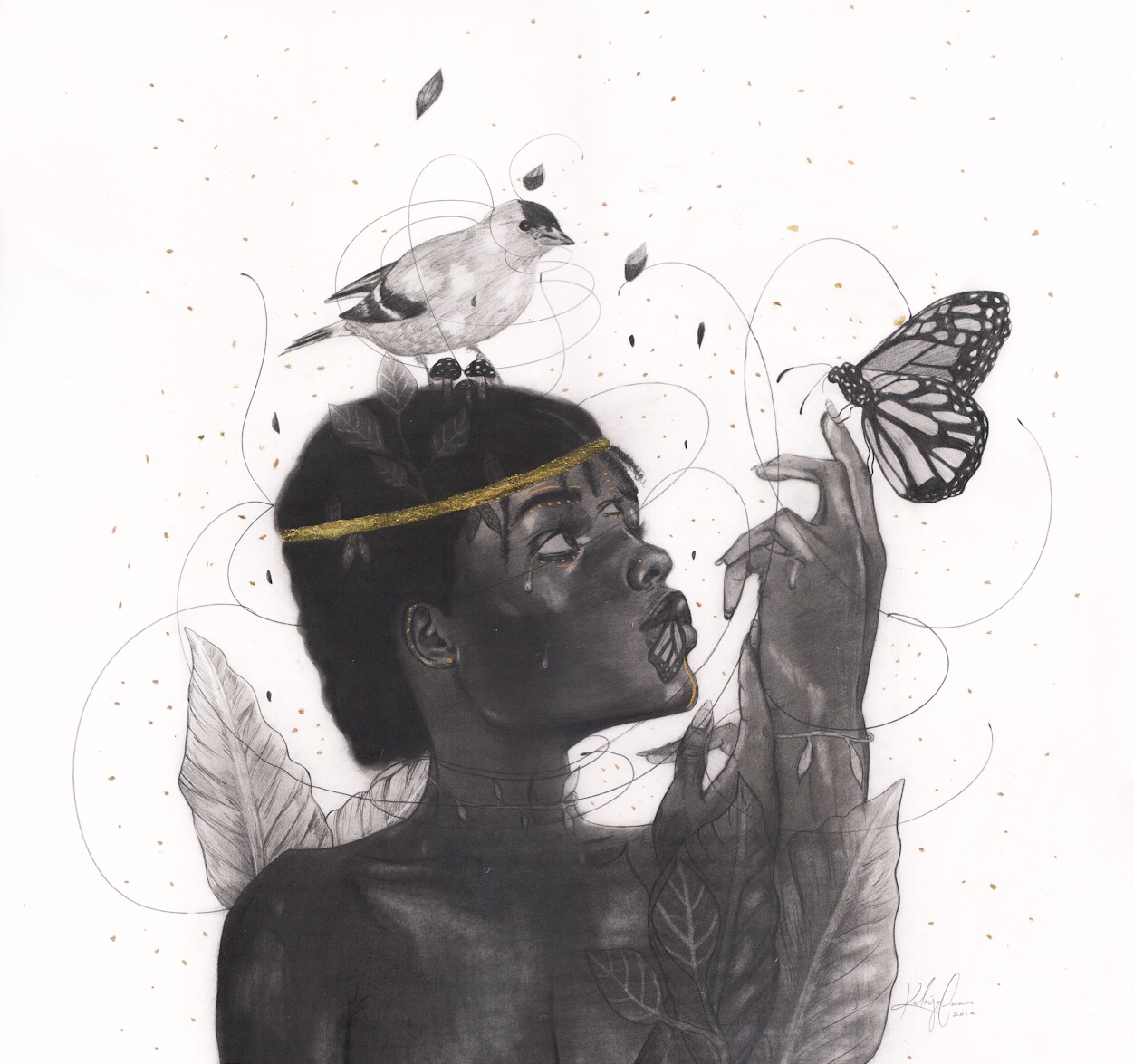 """The Mother's Warriors""  16x16"", graphite and gold leaf on paper  2019  available for purchase - email: hello@theroaringsiren.com for inquiries"