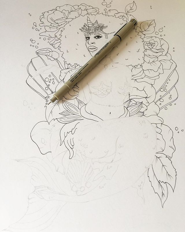 𓁼⁣  Work in progress.  Expect to soon see lots of mermaids and sirens from me. With fros, braids, twists, all of that Black girl goodness. ⁣ ⁣ I'm going to put this piece in my shop as a coloring page for folks to purchase & digitally download, print out and color, or color digitally for anyone who would like that when it's finished. Along with many more to come. Might color it digitally myself and make prints for my shop as well :)⁣ ⁣ _____⁣ #blackworkillustration #darkillustration #lineart #coloringpage #inkart #penart #micronpen #instasketch #pensketch #artdaily #artgallery #artistsoninstagram #artwork #instaartist #mermaid #siren #inkedartgroup ⁣#inklovers #inkartist #inkartwork #sketchdrawing #blxck #penandinkdrawing #inksketch #blackandwhitedrawing #blackpen #ballpen #mermaidart #sirenart