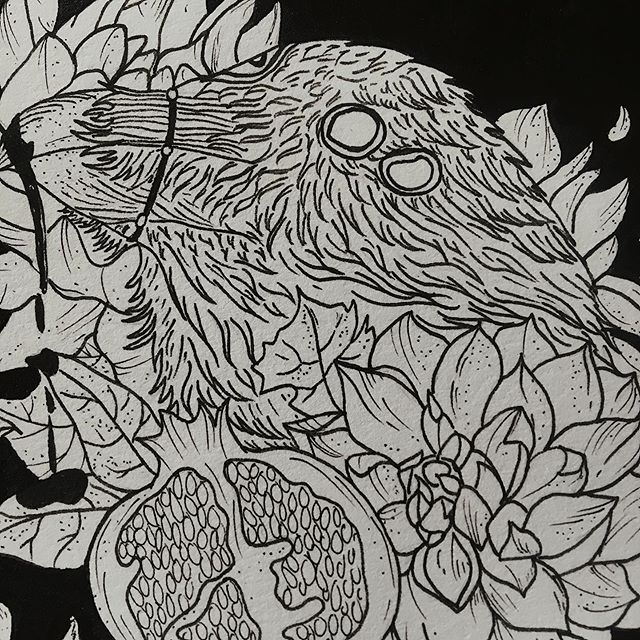 Detail of an illustration that is a part of my mini series of majestic bird + various fauna ink illustrations titled 'In The Darkness I Find My Light'. This series will be available as mini prints sold separately, as a set, and quite possibly sticker pre-orders tomorrow for my Friday The 13th shop update. The originals will be listed in my webshop as well. Can't wait 🌿🖤