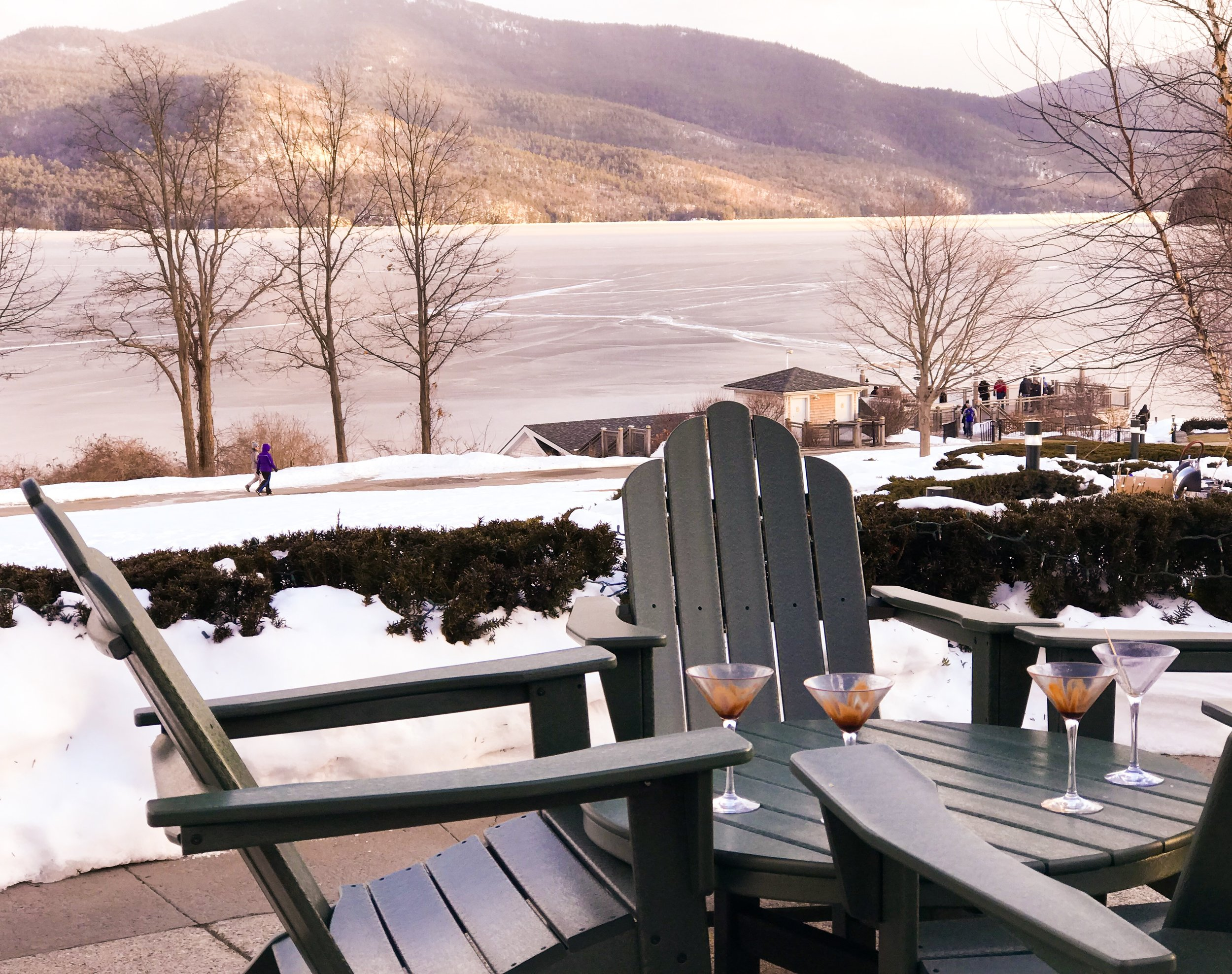 View of Lake George, frozen over. c. January 2019