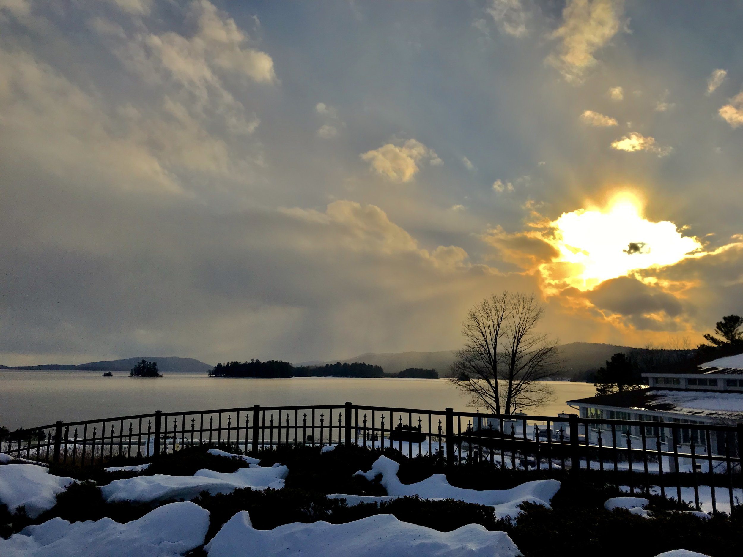 Sunset view of Lake George, as seen from the s'mores patio at The Sagamore. c. January 2019