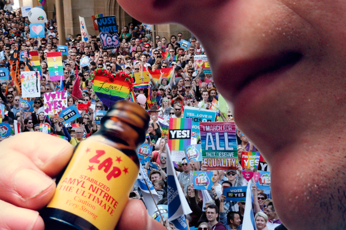 """Gay, straight, black or white - monging is a human right!"" - The inhalant drug, Amyl, commonly used by tight-ass partygoers for short recreational highs; along with pussy-ass bottoms for sex, could soon be outlawed in Australia.The proposed ban has sent shockwaves throughout the gay community, and the associated backlash is shaping up to be on par with last year's impassioned campaign to achieve marriage equality.Whilst some might have thought that the gays would've turned their attention and loud lispy mouths to global LGBT injustices, it is in fact smelly little bottles of VHS cleaner right here at home that have people getting their Daily Jocks in a twist."