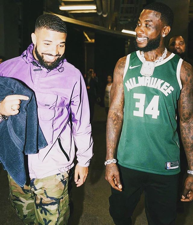 Drake is getting in the head of Milwaukee. And the Raptors have chances to win the championship 🇨🇦 #drake #wethenorth #canada #playoff #basketball #guccimane