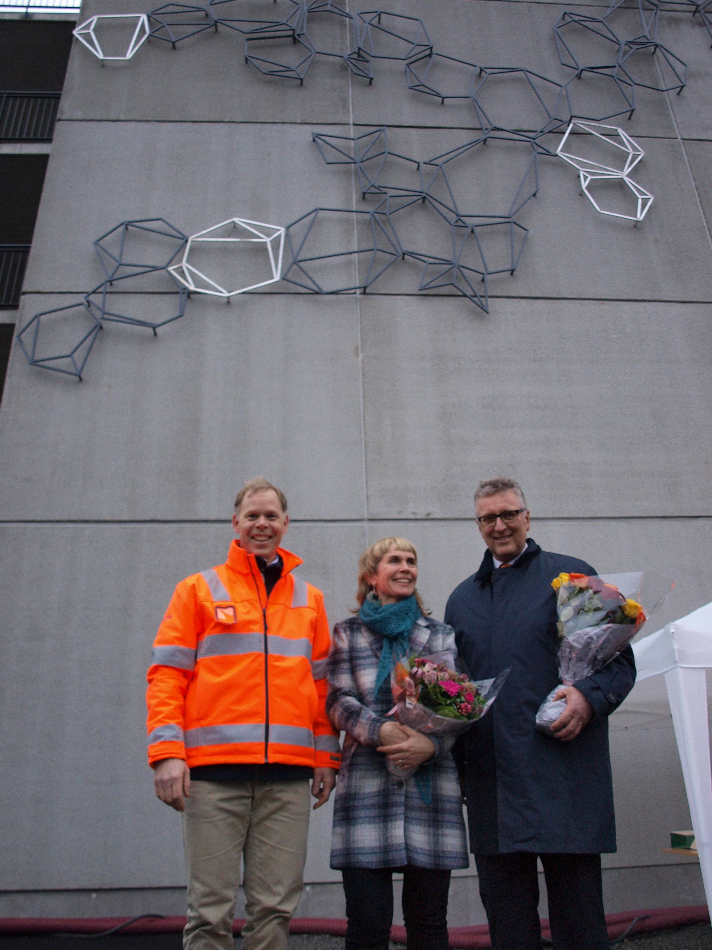 With the project manager from Skanska and the Mayor from Kongsberg