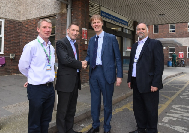 Stehen with Managing Director Chris Pocklington, Macmillan Lead Nurse for Cancer, Dr Barry Quinn, and Clinical Director for Surgery and Cancer, Dr Jason Saunders.