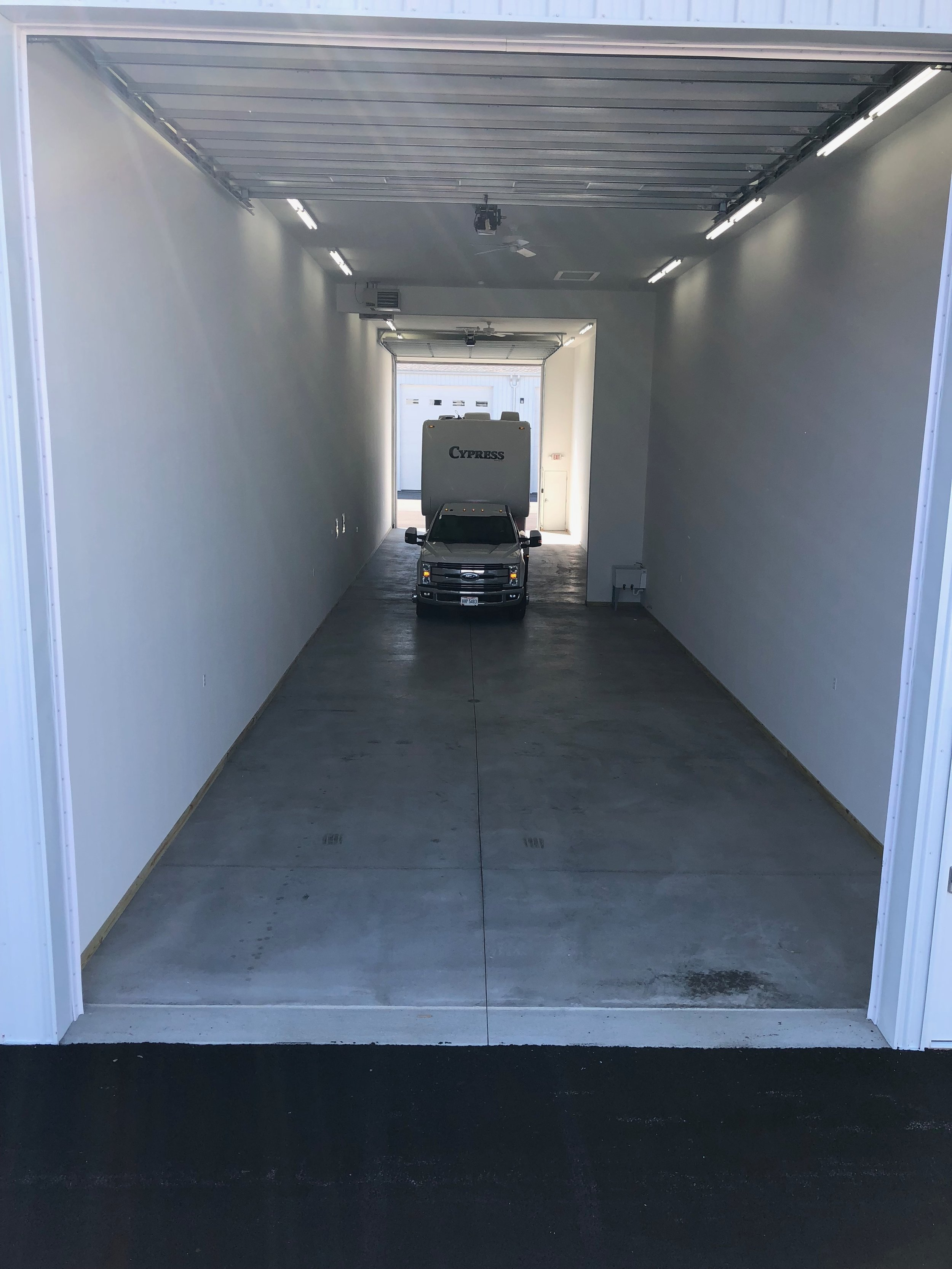 Drive thru units available. Pictured is 90' x 20'
