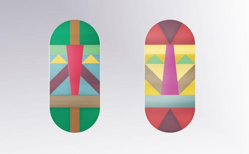 SELETTI – espelhos coloridos com motivo de máscaras tribais