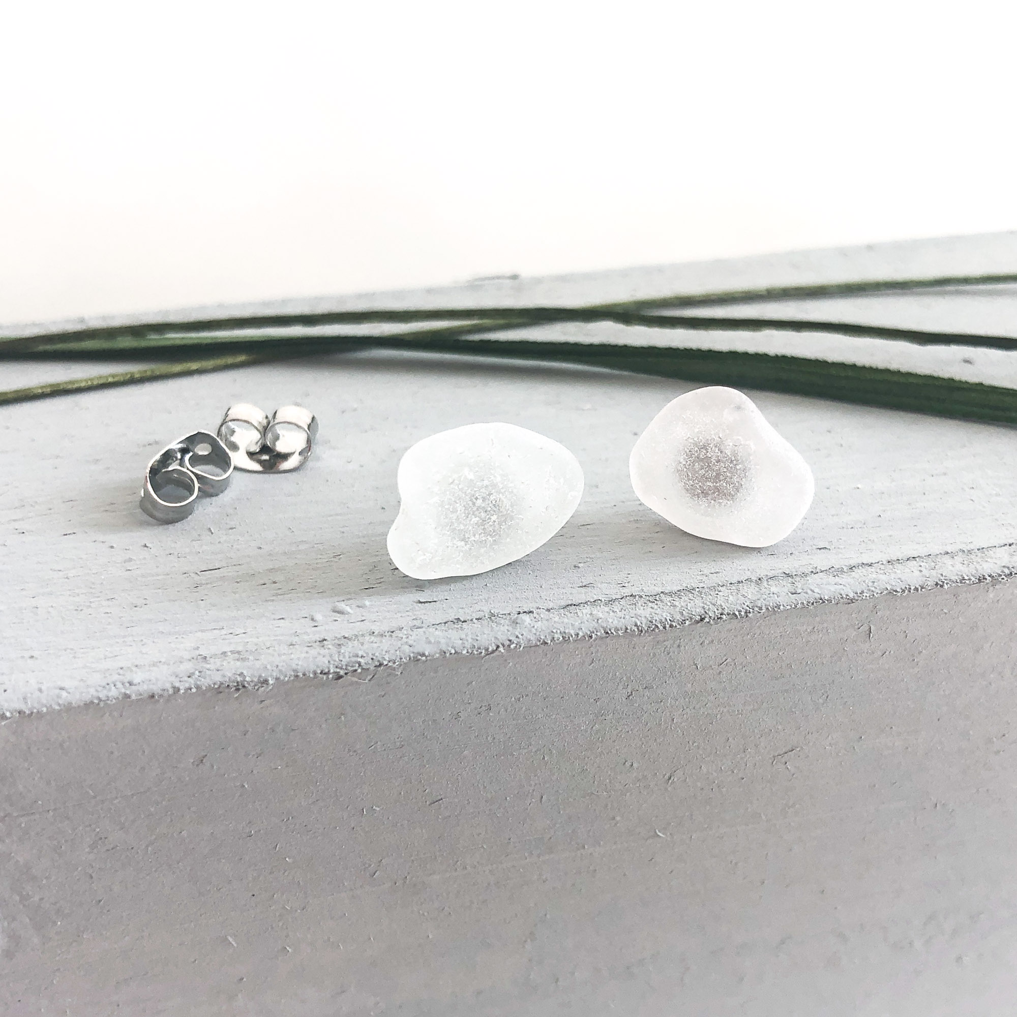 white sea glass studs - • genuine sea glass jewellery from France• handcollected• stainless steel posts• SGES715 Euro