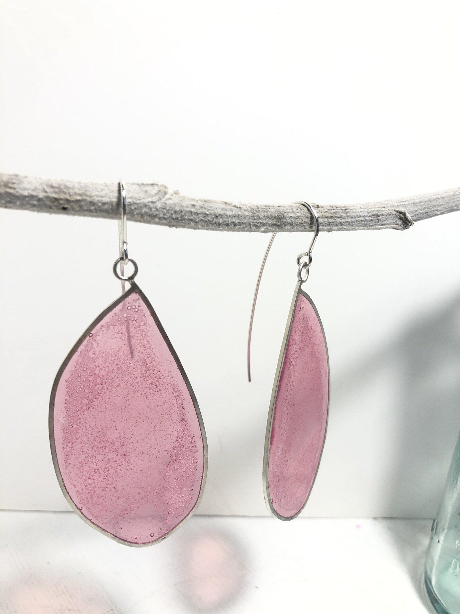 dangling resin earrings pale pink.JPG