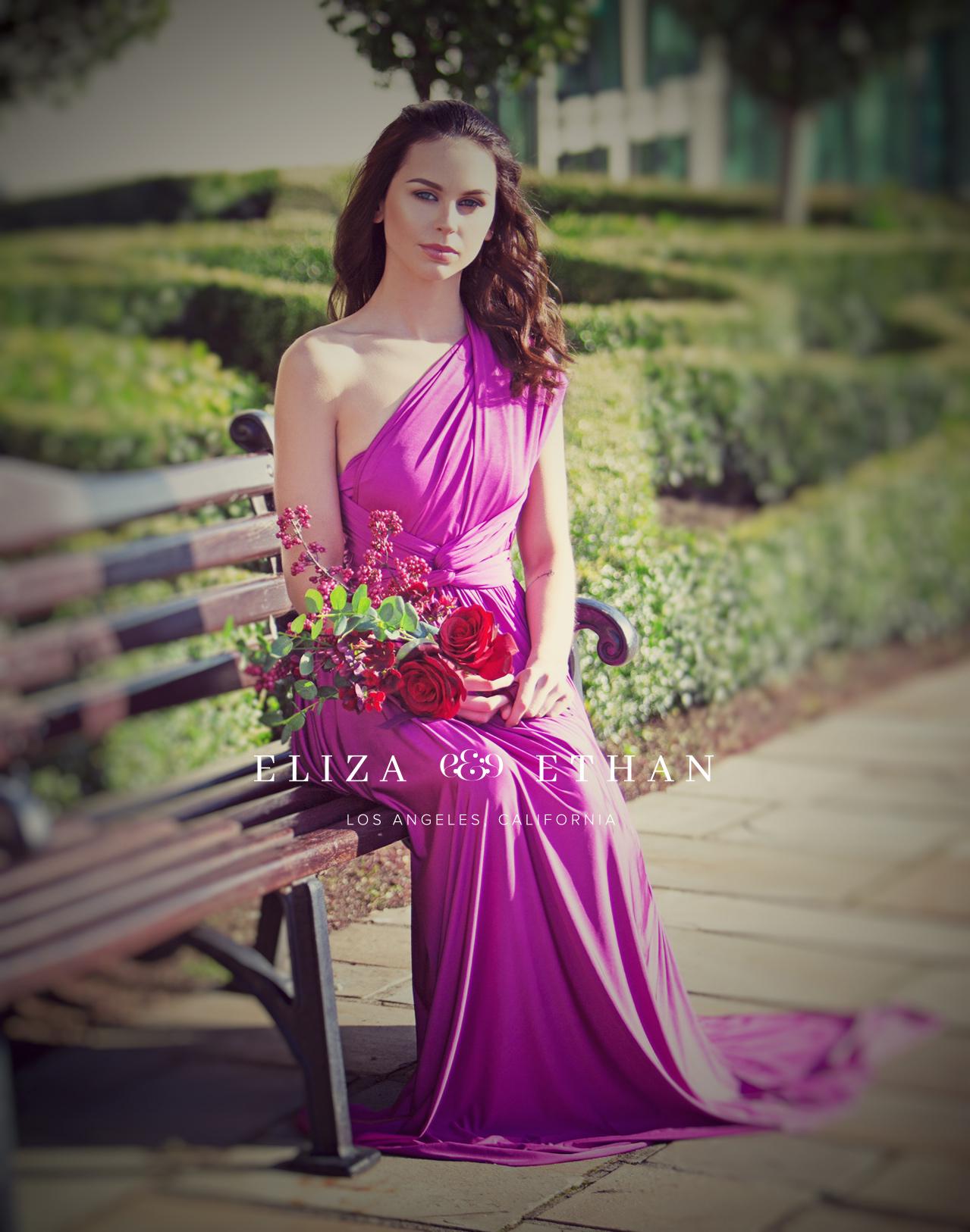 Eliza & Ethan multi way wrap dress purple bridesmaids dress